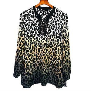 Susan Graver Artisan Ombré Cheetah Top 14 EUC